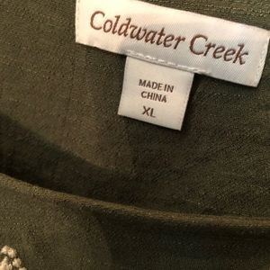 Coldwater Creek Tops - Coldwater Creek olive green embroidered top